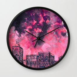building watercolor city Wall Clock