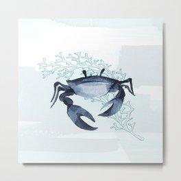 Whimsical Blue Crab Coastal Illustration Metal Print