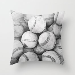 Bucket of Baseballs in Black and White Throw Pillow