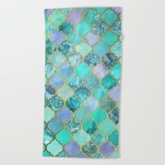 Cool Jade & Icy Mint Decorative Moroccan Tile Pattern Beach Towel