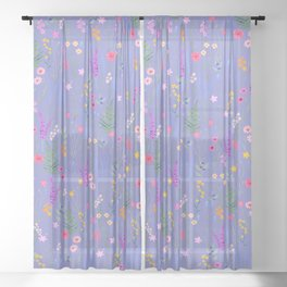 blue meadows colorful floral pattern Sheer Curtain