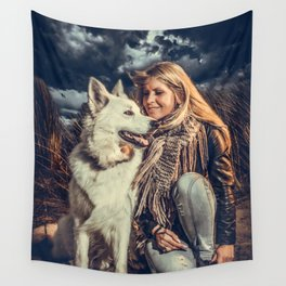 the white shepard Wall Tapestry