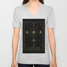 L'Etoile or The Star Tarot Gold Unisex V-Neck