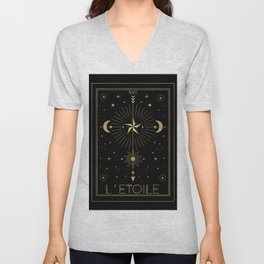 L'Etoile or The Star Tarot Gold Unisex V-Neck