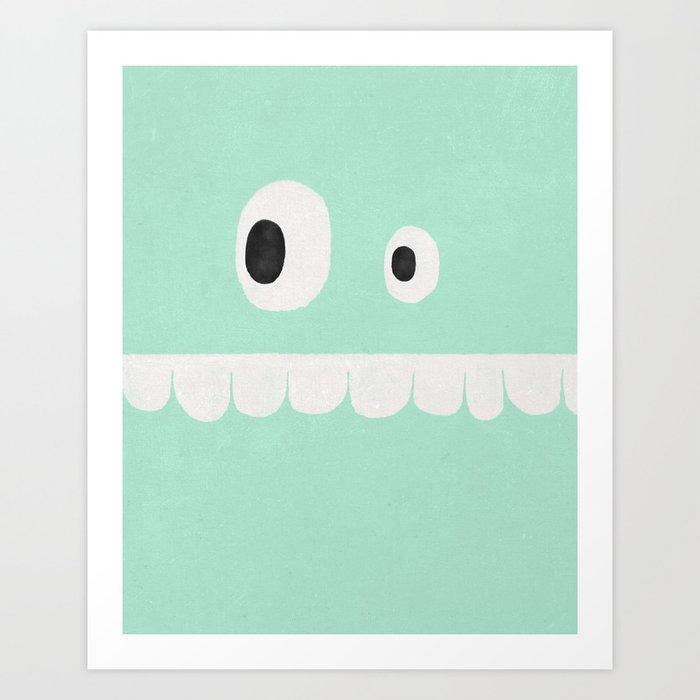 Face VI (mint green) Art Print