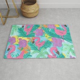 Tropical Flamingo Jungle Rug