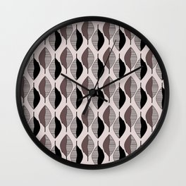 Mauve & black leaves Wall Clock