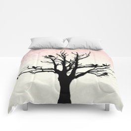 Tree & Birds Silhouette Damask Backdrop Comforters