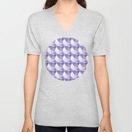 3D Optical Illusion: Purple Icosahedron Pattern Unisex V-Neck