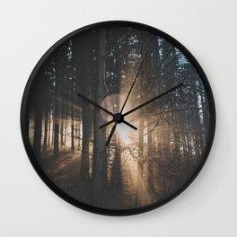 Sun Rays through Trees Wall Clock