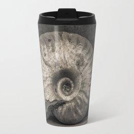 Ammonite Fossil in Sepia Travel Mug