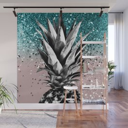 Pineapple Tropical Summer Vibes Glitter Glam #1 #tropical #fruit #decor #art #society6 Wall Mural