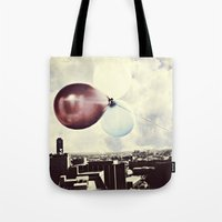 skyline Tote Bags featuring Skyline by maybesparrowphotography