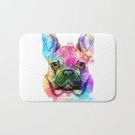 French bulldog Watercolor Bath Mat
