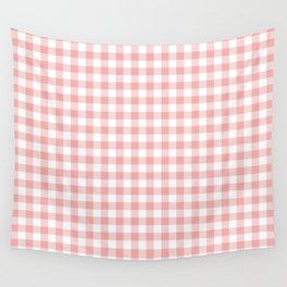 Lush Blush Pink and White Gingham Check Wall Tapestry