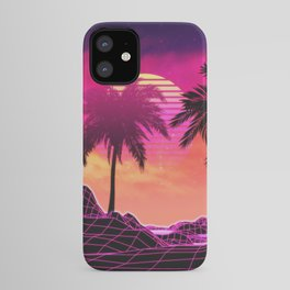 Pink vaporwave landscape with rocks and palms iPhone Case