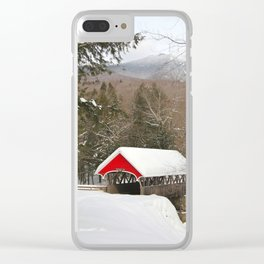 Red covered bridge in snowy landscape Clear iPhone Case