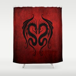 Black and Red Twin Tribal Dragons Shower Curtain