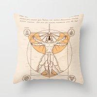 aang Throw Pillows featuring Vitruvian Aang by Fanboy30