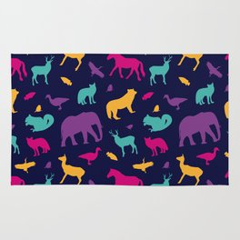 Colorful Wild Animal Silhouette Pattern Rug