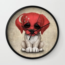 Cute Puppy Dog with flag of Singapore Wall Clock