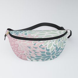 Floral Blooms, Soft Pink, Green and Teal, Design Prints Fanny Pack