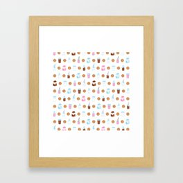 Milk and Cookies Pattern on White Framed Art Print