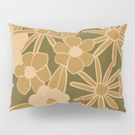 super bloom large flowers – olive Pillow Sham