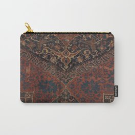 Boho Chic Dark VII // 17th Century Colorful Medallion Red Blue Green Brown Ornate Accent Rug Pattern Carry-All Pouch