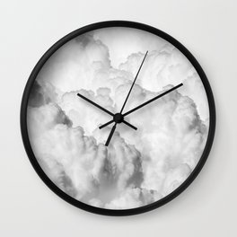 Ominous Fluffy Clouds Stormy Sky Wall Clock