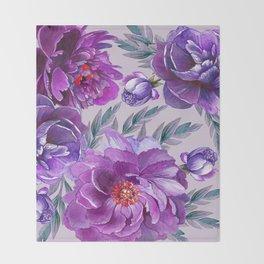 Violet and Purple Flowers Throw Blanket