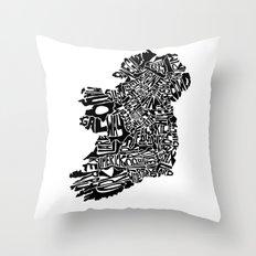 Typographic Ireland Throw Pillow