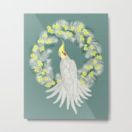 Cockatiel with daisy palm wreath Metal Print