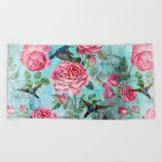 Vintage Watercolor hummingbird and English Roses on aqua Background Beach Towel