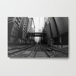 Lynx Blue Line 7th Street Black and White Metal Print