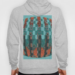 Aqua Blue Geometric Glitch Pattern Hoody