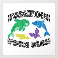 iwatobi Art Prints featuring Iwatobi Swim Club by drawn4fans