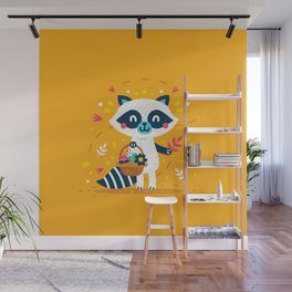 Cute Raccoon Collect Flowes Wall Mural