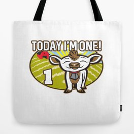 Kid's 1st Birthday Today I'm One! Cute Cow Tote Bag