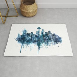 Seattle Skyline monochrome watercolor Rug