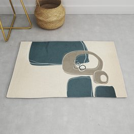 Retro Abstract Design in Taupe and Aqua Rug