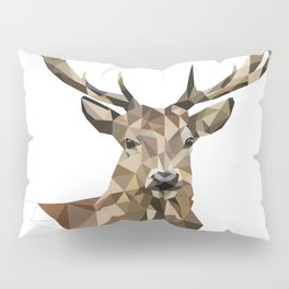 Geometric deer Woodland art Forest animals Brown and gray Pillow Sham