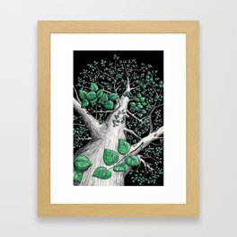 Big tree in black Framed Art Print