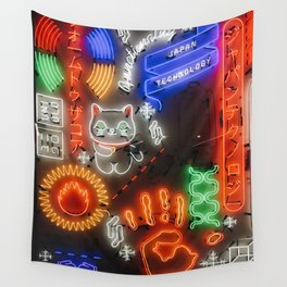 Japanese Neons Wall Tapestry