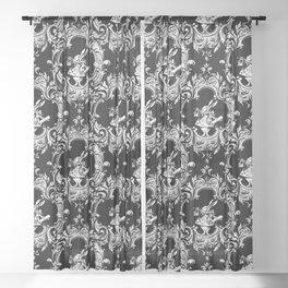 Alice in Illustration C15 Wonderland White Rabbit on Black Stripe Background Sheer Curtain