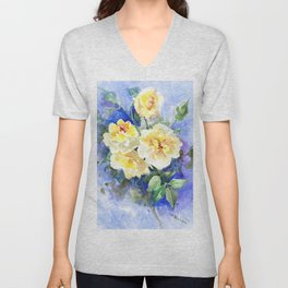 Yellow Roses and Blue , garden floral art, yellow blue watercolor Unisex V-Neck