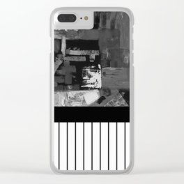 B&W II - Black and white, abstract, contrasting pattern Clear iPhone Case