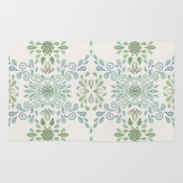 Blue and Green Floral Pattern Rug
