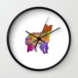 Border Collie in watercolor Wall Clock