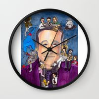 robin williams Wall Clocks featuring Robin Williams  by Aviva Bubis Art and Stuff
